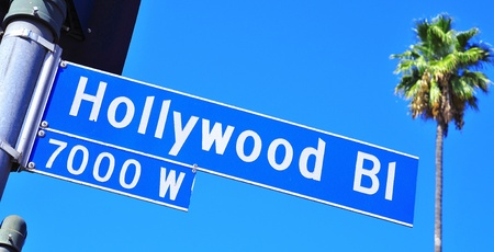 hollywood boulevard: Closeup of a Hollywood Boulevard sign in Hollywood, United States Stock Photo