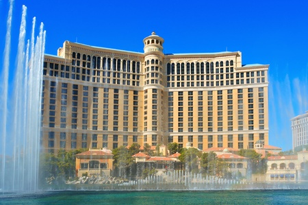 Las Vegas, US - October 12, 2011: Fountains of Bellagio in Las Vegas, US. This Italian-inspired resort has a hotel with 3,933 rooms, and also has casino and other facilities