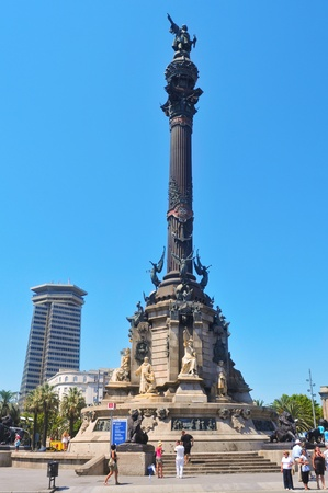 Barcelona, Spain - August 16, 2011: Columbus Monument in Barcelona, Spain. It is a 60 meters tall monument for Christopher Columbus at the lower end of La Rambla
