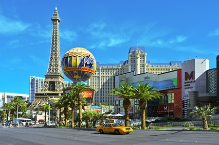 Las Vegas, US - October 13, 2011: Paris Las Vegas Hotel in Vegas, US. The resort has an hotel with 2,915 rooms and a half scale, 541-foot (165 meters) tall, replica of the Eiffel Tower