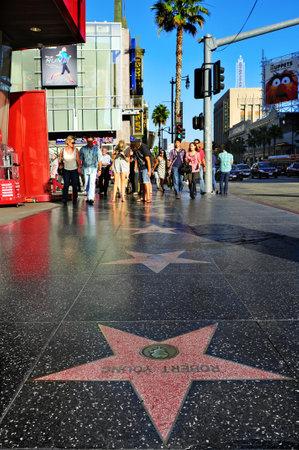 estrellas cinco puntas: Los Angeles - 16 de octubre de 2011: Paseo de la Fama en Hollywood Boulevard en Los �ngeles. Los m�s de 2.400 estrellas de cinco puntas atrae a cerca de 10 millones de visitantes al a�o Editorial