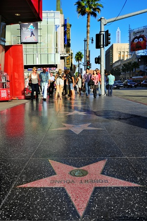 hollywood boulevard: Los Angeles - October 16, 2011: Hollywood Walk of Fame in Hollywood Boulevard in Los Angeles. Those more than 2,400 five-pointed stars attracts about 10 million visitors annually