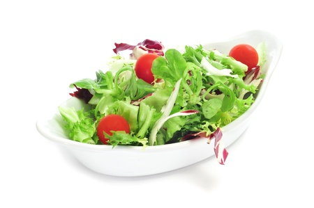 cornsalad: a bowl with salad with cherry tomatoes