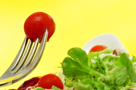 closeup of a plate of salad with cherry tomatoes Stock Photo - 11231874