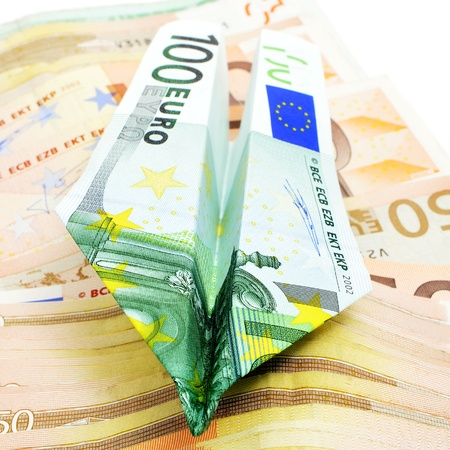 paper plane made with a 100 euro bill photo