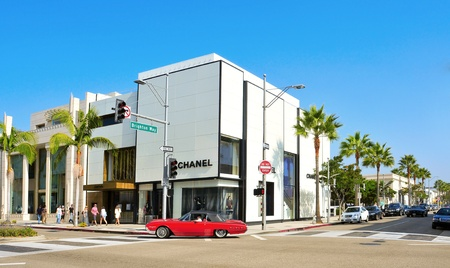 chanel: Beverly Hills - October 16, 2011: Rodeo Drive in Beverly Hills, US. There are more than 100 world-reknowed boutiques in this area Editorial