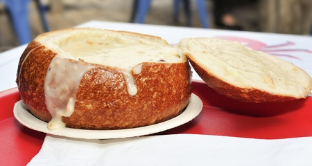 frisco: closeup of a typical San Francisco clam chowder served in a bread bowl