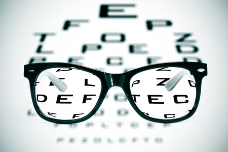 ophthalmology: eyeglasses over a blurry eye chart