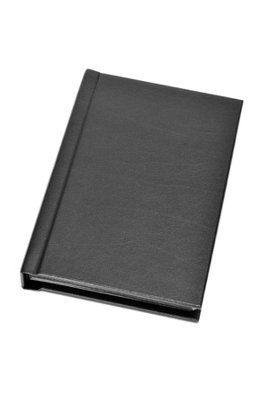 broadside: a black leather book on a white background