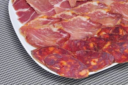 embutido: a pile of different spanish embutido, as jamon, chorizo and lomo embuchado