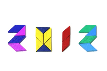 jigsaw tangram: 2012 made with puzzle pieces of different colors on a white background