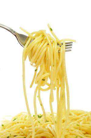 europe closeup: closeup of a fork with spaghetti
