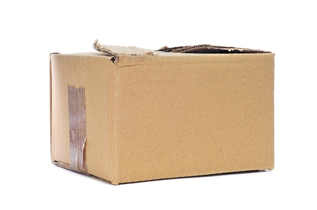 a worn cardboard box on a white background photo
