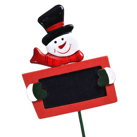 christmas ornamentation: a blank snowman blackboard on a white background Stock Photo