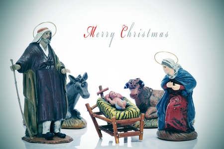 religious text: the nativity scene with sentence merry christmas