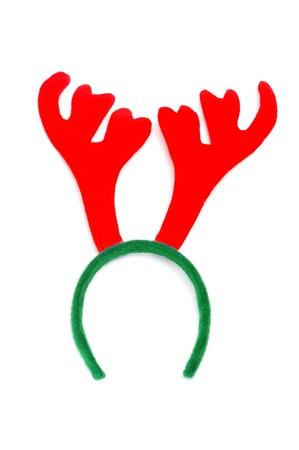 흰색 배경에 산타의 사슴 뿔