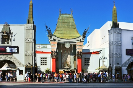 Los Angeles - October 16, 2011: Graumans Chinese Theatre on October 16, 2011 in Los Angeles. There are nearly 200 Hollywood celebrity handprints, footprints and autographs in the concrete of its forecourt