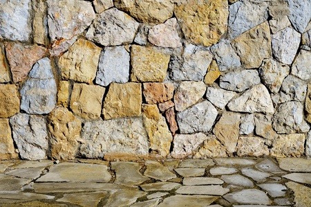 dry stone: close-up of a stone wall with irregular pieces
