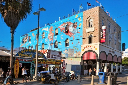 Venice, US - October 17, 2011: Famous mural in Venice Beach in Venice, US. Rip Cronk, the artist, painted some of the most famous murals along the boardwalk and its surrounding areas Editorial