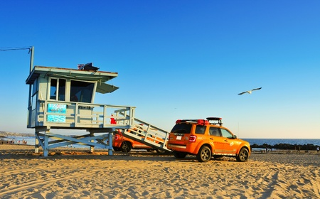 a patrol: Venice, US - October 17, 2011: Lifeguard tower in Venice Beach in Venice, US. Venice Beach is the headquarters of Los Angeles County Lifeguards, that has 158 lifeguard towers like this