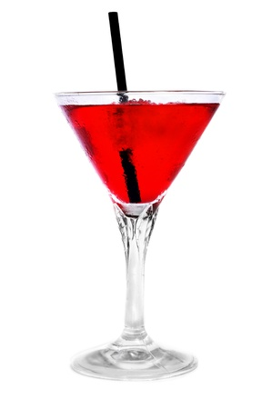 thirstiness: a glass with a red cocktail on a white background