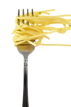 pasta fork: a fork with spaghetti on a white background Stock Photo