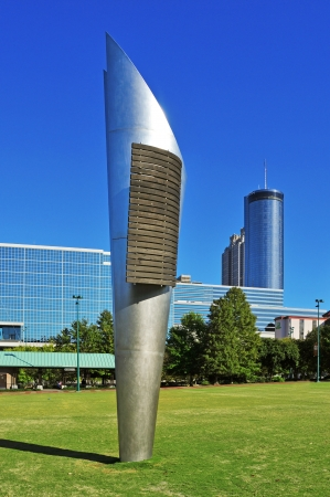 atlanta tourism: Atlanta, US - October 21, 2011: Androgyne Planet sculpture at Centennial Olympic Park in Atlanta, US. The statue, built by Enric Pladevall, represents the continuity of the Olympic Games