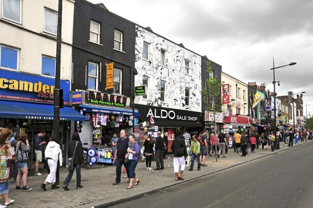 bric: London, United Kingdom - May 8, 2011: Camden Street in London. Camden Market and streets nearby are the fourth-most popular visitor attraction in London, attracting approximately 100,000 people each weekend