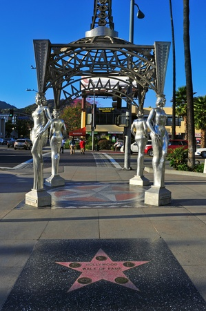 fame: Los Angeles, US - October 16, 2011: The Four Ladies of Hollywood gazebo in Los Angeles. Designed by Catherine Hardwicke, it is located at the westernmost extension of the Walk of Fame Editorial