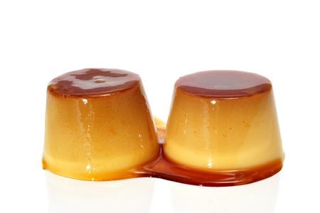 flan: some creme caramel on a white background
