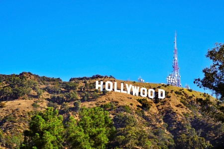hollywood hills: Los Angeles - October 16, 2011: Hollywood sign in Los Angeles. The sign, located in Mount Lee, spells out the name of the area in 45-foot-tall and 350-foot-long white letters