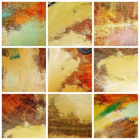 pinceladas: collage de telas varias con pinceladas de diferentes colores Foto de archivo