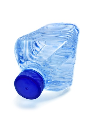 thirstiness: plastic water bottle on a white background