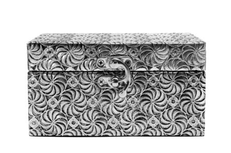 trinket: a metal coffer on a white background