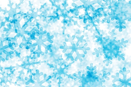 crystallization: background with many blue snowflakes