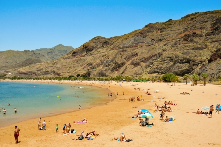 Tenerife, Spain - June 23, 2011: A view of Teresitas Beach in Tenerife, Canary Islands, Spain. This is the nearest beach to Santa Cruz, the capital of Tenerife