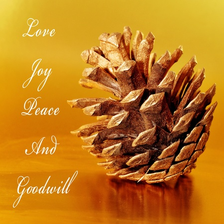 goodwill: some wishes, as love, joy, peace and goodwill, with a pine cone on a golden background Stock Photo