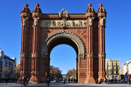 Barcelona, Spain - December 18, 2011: Arc de Triomf in Barcelona, Spain. Designed by Josep Vilaseca, it was built for the 1888 Universal Exposition as its main access gate Stock Photo - 11581060