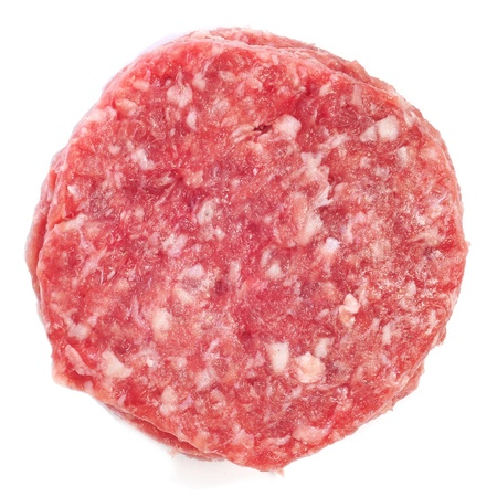 closeup of some raw burgers on a white background photo