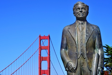 San Francisco, USA - October 19, 2011: Joseph Strauss Memorial with Golden Gate Bridge in the background in San Francisco. This memorial honors the man who built the bridge