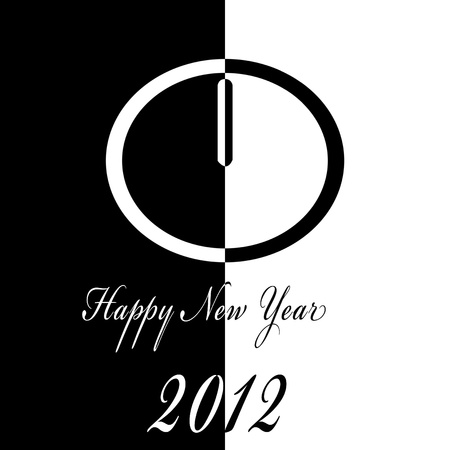 illustration of happy new year 2012 with a clock in black and white illustration