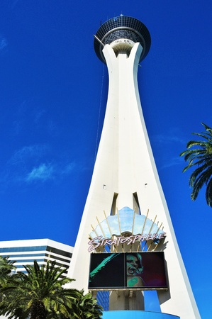 estratosfera: Las Vegas, US - October 12, 2011: Stratosphere Las Vegas in Vegas. Stratosphere Tower, 1,149 ft (350.2 m) high, is the tallest freestanding observation tower in the United States Editorial