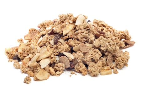 a pile of muesli on a white background photo