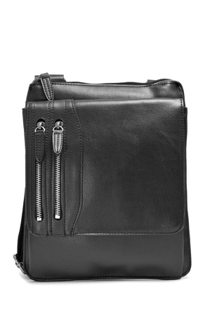a black leather sling bag on a white background photo