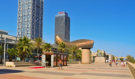 Barcelona, Spain - August 16, 2011: Hotel Arts and Mapfre Tower in Barcelona, Spain. The Hotel Arts is a 44-story, 483 room luxury hotel and its twin, Mapfre Tower, an office building Editorial