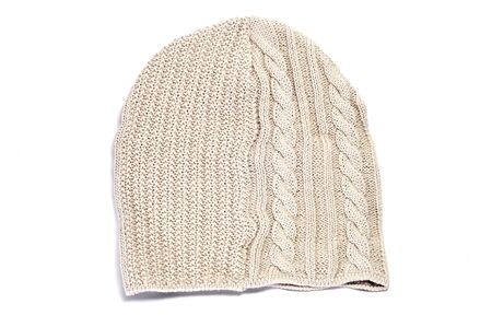 stocking cap: a beige tuque on a white background Stock Photo