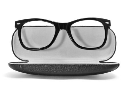 black rimmed: black glasses in a case on a white background Stock Photo