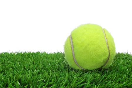 a tennis ball on the grass on a white background photo