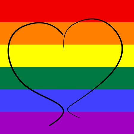gay pride flag: a heart drawn on a rainbow flag background symbolizing gay love
