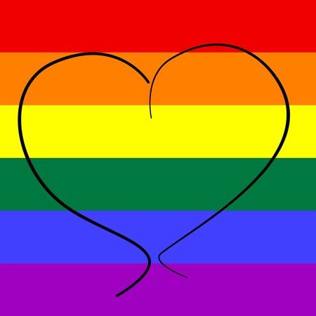 bandera gay: un coraz�n dibujado sobre un fondo bandera del arco iris que simboliza el amor gay Foto de archivo